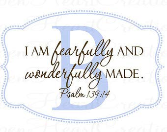 I am Fearfully and Wonderfully Made Wall Decal with Initial Polka Dot Border - Initial Wall Decal with Scripture Overlay 22H x 32W