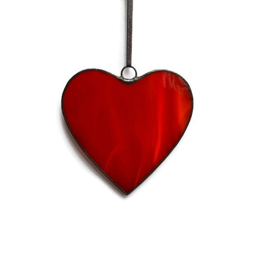Classic red heart made of stained glass Romantic gift to say I love you