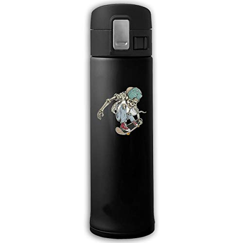 Stainless Steel Mug Cool Skull Skate Bouncing Cover Insulation Vacuum Cup Bottle Thermos Mug Black