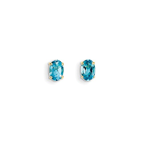 Perfect Jewelry Gift 14k 6x4 Oval December/Blue Topaz Post Earrings