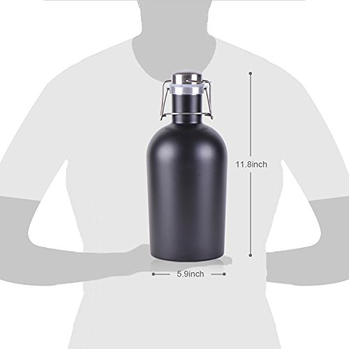 Growler X24- Stainless Steel Single with Secure Swing Top Lid - 64-Ounce - Keep Beverages Cold (L.G.) Black by Living&Giving (Image #2)