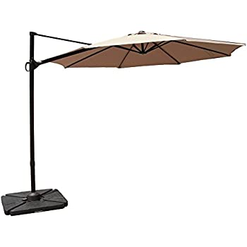 cobana 10 feet octagon cantilever patio umbrella with vertical tilt and cross base in beige