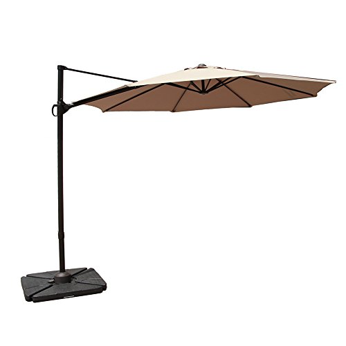 COBANA 10 Feet Octagon Cantilever Patio Umbrella with Vertical Tilt and Cross Base in Beige by COBANA