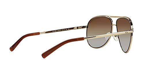 Armani Exchange Metal Unisex Polarized Aviator Sunglasses, Light Gold/Dark Brown, 61 mm by A X Armani Exchange (Image #9)