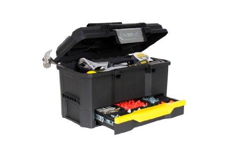 Stanley Werkzeugbox Kunststoff mit integrierter Schublade, Deckelaussparung, entnehmbare Trage, 48.1x27.9x28.7, 1-70-316