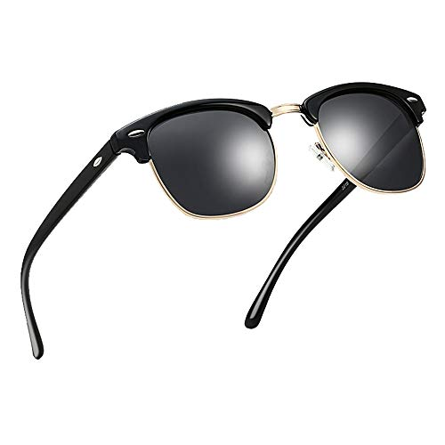 Polarized Half Frame Horn Rim Vintage Sunglasses Semi-Rimless Retro Brand Sun Glasses Women Men ()