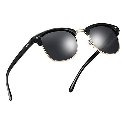 Polarized Half Frame Horn Rim Vintage Sunglasses Semi-Rimless Retro Brand Sun Glasses Women Men