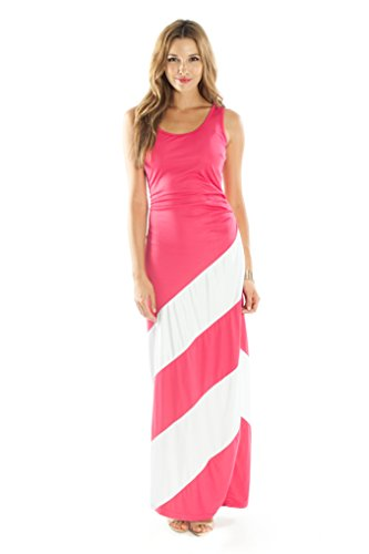 Striped Maxi Dress by Ariana James (Cotton Sleeveless Scoop Neck) (L Pink)