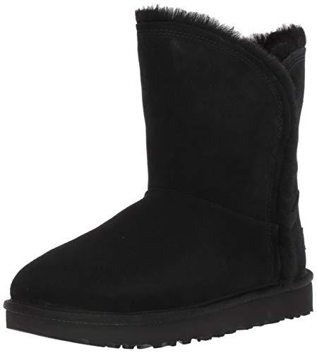 UGG Women's Classic Short Fluff HIGH-Low Fashion Boot, Black, 8 M US (Short Black Boots Ugg Classic)