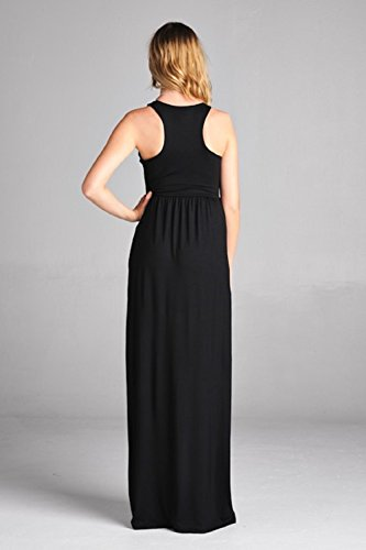 Dresses Sportoli for W Long Solid Maxi Charcoal Racerback Sleeveless Women Lightweight Pocket Heather BRw5Rf6xq