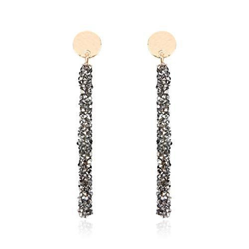 RIAH FASHION Glitter Rhinestone Statement Drop Earrings - Sparkly Crystal Geometric Metal Hook Dangles Vertical Bar, Elongated Teardrop, Shield Disc (Sparkly Crystal Bar - Hematite)