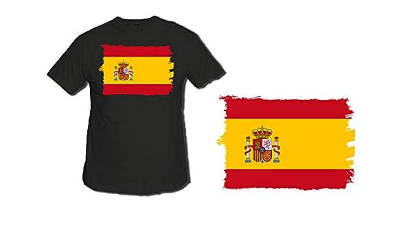 Camiseta Negra Bandera ESPAÑA Pais Unido Tshirt : Amazon.es: Ropa