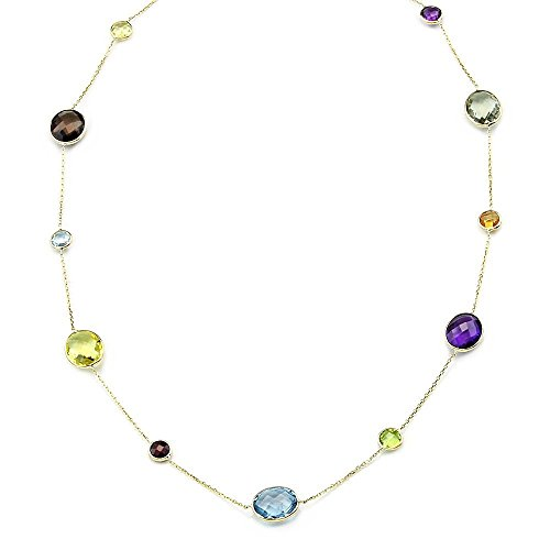(14K Yellow Gold Necklace With Oval and Round Gemstones 20 Inches)