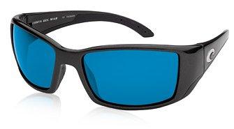 Costa Del Mar BLACKFIN Polarized Sunglass - Matte Black / Blue Mirror 580 Glass by Costa Del Mar
