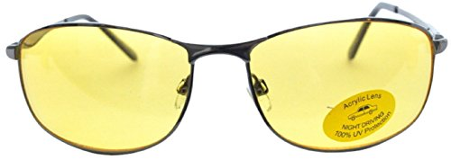 Men Women Unisex Spring Temple Metal Wrap Around Yellow HD Night Driving Glasses Sunglasses , Yellow Lens for Better Night Vision, Gunmetal Black (Microfiber Pouch - Lightly Glasses Tinted