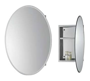 Bathroom Wall Cabinet in Stainless Steel, Oval Mirror: Amazon.co ...