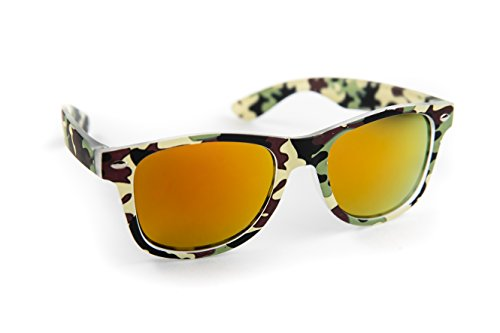 Kids Classic Retro Rewind Sunglasses Color Flash Mirrored Lenses Soft Plastic Frames for Children 3-9 (FDA Approved) (Green Camo (Camouflage Kids Sunglasses)