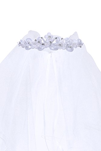 Kids Dream Precious First Communion Flower Girl Veil w/Elegant Satin Crown for -