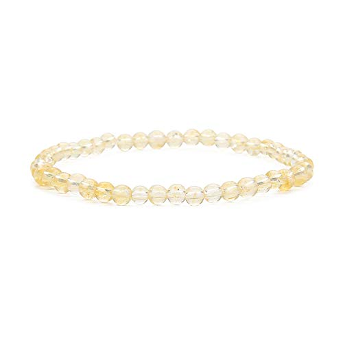(BALIBALI 4MM Mini Gemstone Energy Bracelets Tiny Yellow Rutilated Quartz Bracelet Natural Stone Statement Bracelet Charm Beaded Couples Bracelets )