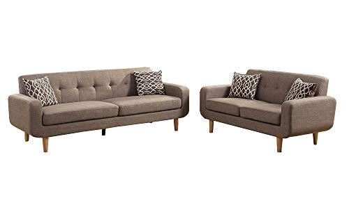 Benzara BM168681 Dorris Fabric Sofa with Loveseat and Cushio