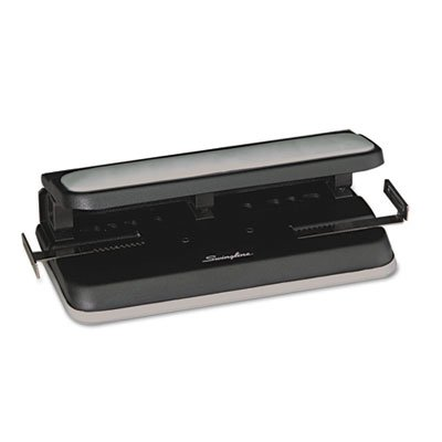 32-Sheet Easy Touch Two-to-Three-Hole Punch, 9/32 Holes, Black/Gray''
