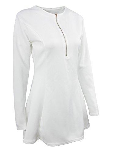 Sitengle Mujeres Vestidos Cortos de Deep V-Neck Vestidos con Cremallera Coctel Fiesta Vestido Blanco