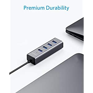 Anker USB C Hub, Aluminum USB C Adapter with 4 USB 3.0 Ports, for MacBook Pro 2018/2017, ChromeBook, XPS, Galaxy S9/S8…
