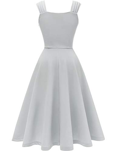 DRESSTELLS 1950's Robe de soirée Cocktail Vintage années 50 col en V sans Manches Longueur mi-Mollet