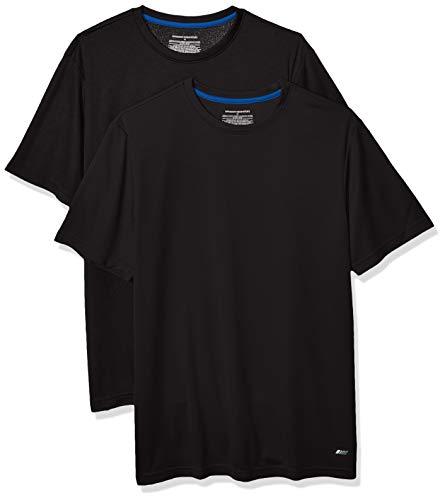 Amazon Essentials Men's 2-Pack Performance Tech T-Shirt, Black, Large