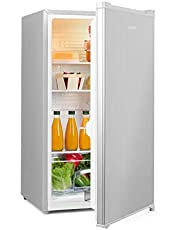 Klarstein Hudson Nevera - 88 litros, eficiencia energética A++, 3 estantes de cristal, 2 compartimentos para verduras, luz interior LED, 3 compartimentos para botellas de hasta 2 litros, Gris-plata