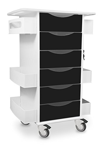 Locking Medical Cart - TrippNT 51371 High Density Polyethylene/Acrylonitrile Butadiene Styrene/PETG Core Medical Lab Cart with 6 Drawers, Black