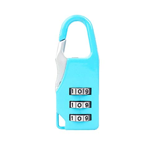 (HankuMini Password Lock for Luggage Toolbox Golf Bag Tackle Box Key Ring (Light Blue, C))