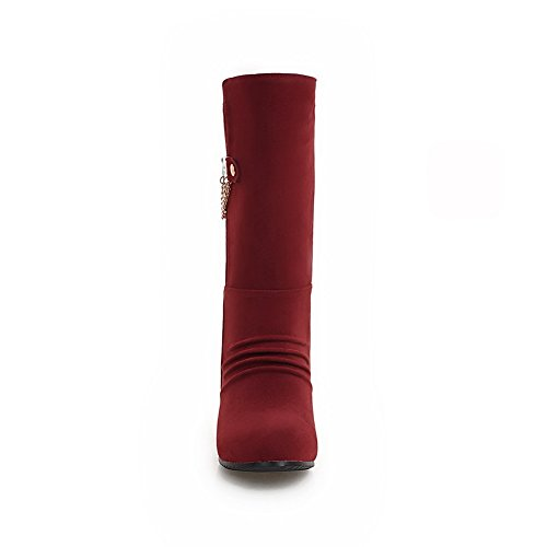 Suede Round Red Girls Cow Ornament Boots Toe Heighten Metal amp;N A Imitated Inside Ovqp1ww