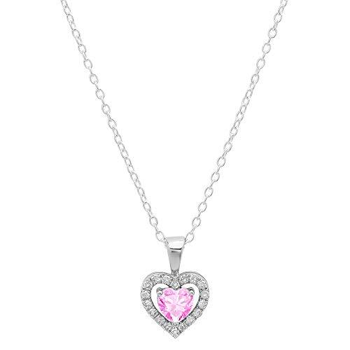 Dazzlingrock Collection 10K 5 MM Heart Created Pink Sapphire & Round Diamond Ladies Heart Pendant, White Gold
