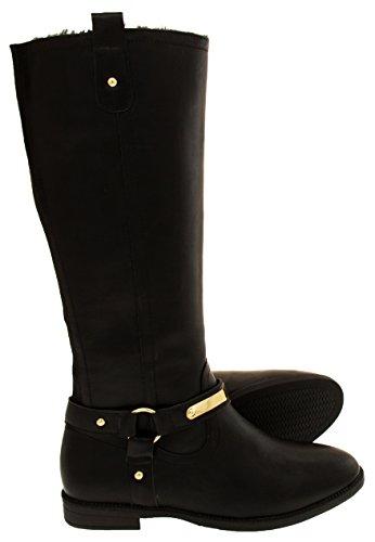 Lined Footwear Womens Leather Keddo Black Faux Biker Studio Fur Faux Boots WWqHZ0