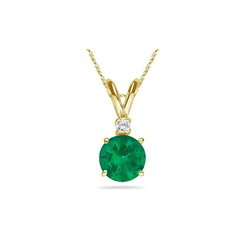 0.03 Cts Diamond & 0.31-0.49 Cts of 5 mm AA Round Natural Emerald Pendant in 18K Yellow Gold
