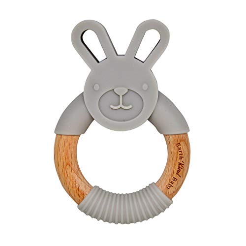 Earth Kind Baby Teething Toy, Organic Eco Friendly BPA Free, Wooden Bunny Round Ring for Boys and Girls (Gray) (Toys Boy Baby Organic)