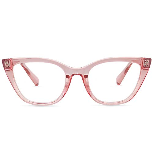 In Style Eyes Stylish Large Cateye Reading Glasses for Women Clear Rose ()