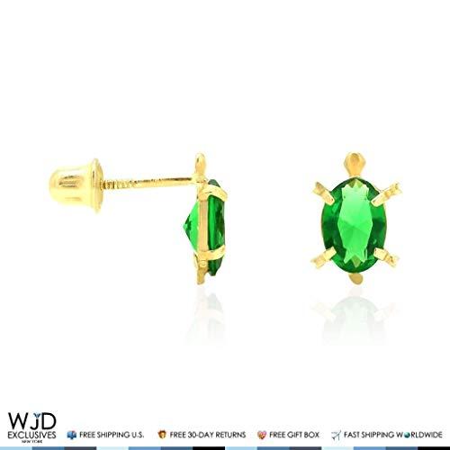 (14k Yellow Gold CZ Oval Birthstone Turtle Screw Back Stud Kid Earrings,)