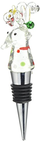 Pavilion Gift Company Holiday Hoopla Reindeer Wine Bottle Stopper, White