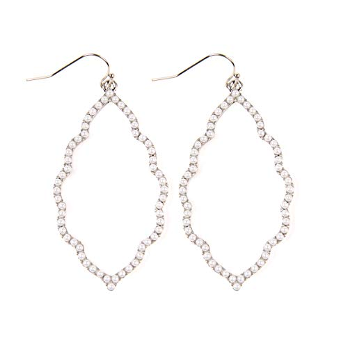 - Sparkly Cubic Rhinestone Geometric Lightweight Open Hoop Earrings - Cut-Out Drop Dangles Scalloped, Moroccan Floral, Quatrefoil Clover, Kite (Moroccan - Silver/Pearl)
