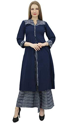 Phagun femminile indiano Abbigliamento A-Line Kurti Kurta Vestito con Palazzo Blu Navy