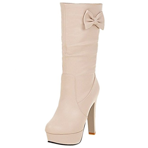 COOLCEPT Mujer Moda Mid Calf Slouch Botas de Alto With Bowknot Beige