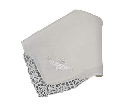 - Thomas Ferguson Women's White Irish Linen Handkerchief, Lace Edge Claddagh Embroidery in Gift Box 10