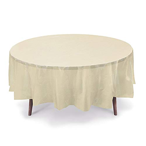 Round Table Ivory Cover (GiftExpressions 12-Pack Party Disposal Premium Plastic Tablecloth 84 Inch. Round Table Cover (Ivory, 12 Pack Round 84 Inch.))