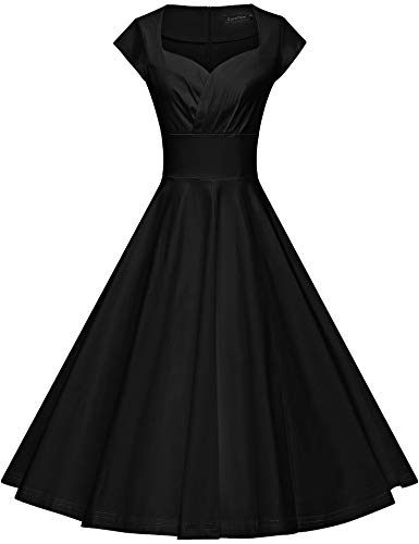 GownTown Womens Dresses Party Dresses 1950s Vintage Dresses Swing Stretchy Dresses, Black, Large