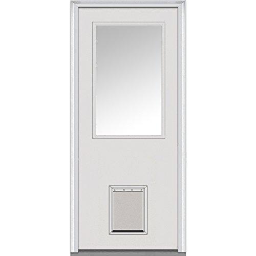National Door Company ZZ00532R Fiberglass Smooth Primed, Right Hand In-swing, Prehung Front Door, 1/2 Lite with Pet Door, Clear Glass, 32
