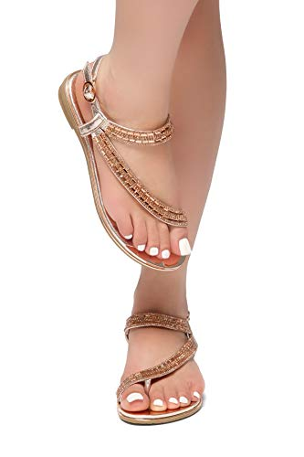 Sandals Strap On Loop Slip Bohemian Rose Women's Herstyle Toe Gladiator Flat Flip Rhinestone Shoes Flops Gld Talluto zwSX6xqB