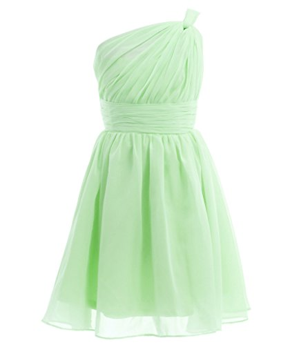Fairy Couple Girl's One-shoulder Bridesmaid Evening Cocktail Party Dress K0122 2 Light Green (Green Fairy Dress)