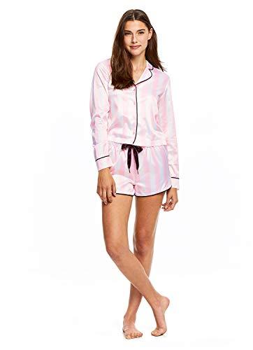 Sleep Riot Women's 2-Piece Satin Pajama Set   Pink Top & ()